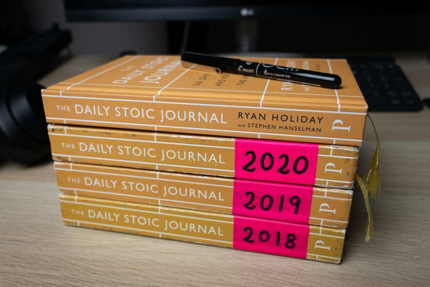 Daily Stoic Journal stack from 2018 to 2021